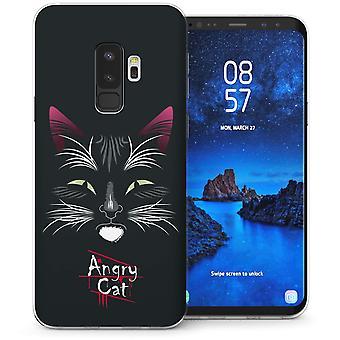 Samsung Galaxy S9 Plus Angry Cat Cartoon TPU Gel Case – Black