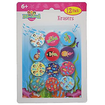 Mermaid Tales Pack of 12 Mini Rubber Erasers School Stationery Kids Party Filler