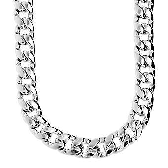 Iced out bling CMD curb chain - 10 mm silver