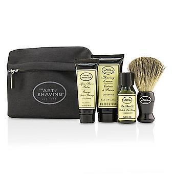 The Art Of Shaving Starter Kit - Unscented: Pre Shave Oil + Shaving Cream + After Shave Balm + Brush + Bag - 4pcs + 1 Bag