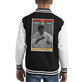 Sporting Legends Poster USA Muhammad Ali The Greatest 1942 Kid's Varsity Jacket