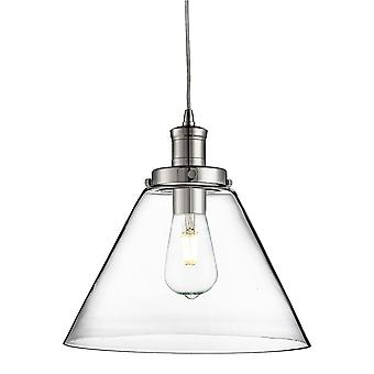 Searchlight Pyramid Chrome Pendant With Clear Glass Shade