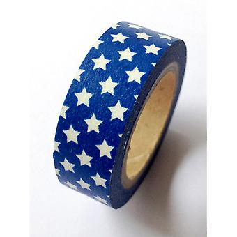 Washi Tape 15Mmx10m Blue with White Stars Lmt15x10 1127