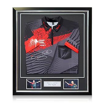Phil The Power Taylor Signed 2018 Darts Shirt In Deluxe Black Frame With Silver Inlay