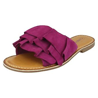Ladies Leather Collection Frill Vamp Mules F00126 - Magenta Suede Leather - UK Size 8 - EU Size 41 - US Size 10