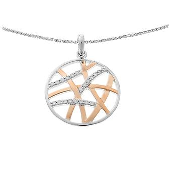Orphelia Silver 925 Chain With Pendant Round + Lines And Rosegold Plated Zirconium  ZH-7098/1