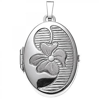 Medallion pendant 925 sterling silver rhodium-plated partially frosted with floral design