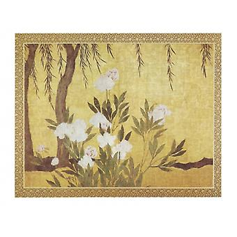Peonies and Willows Poster Print by Hasagawa School early 16th Centu (34 x 26)