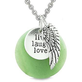 Guardian Angel Wing Live lachen liebe inspirierende Medaillon magische Amulett grüne Quarz Halskette