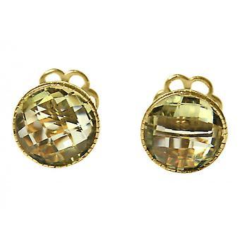 Gemshine - cufflinks - 925 Silver - gold plated - lemon Quartz - Yellow