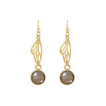 Earrings - silver - gold plated - butterfly wings - smoky quartz - Brown - 4 cm