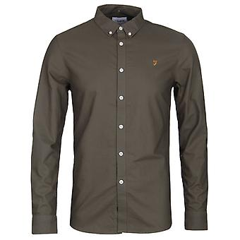 Farah Brewer Khaki Slim Fit Oxford Shirt