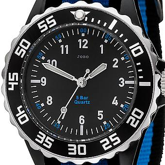 JOBO children wrist watch quartz analog black blue children watch
