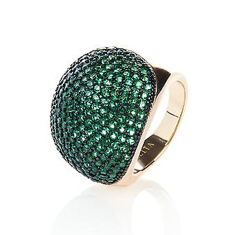 22ct Gold Vermeil Micro Pave uttalande Cocktail Ball Ring - grön zirkon