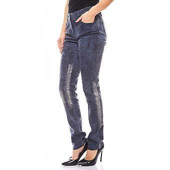 B.C.. best connections narrow ladies of skinny jeans leaves print Blau