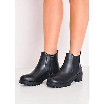 Cleated PlatformElasticated PU Chelsea Ankle Boots Black