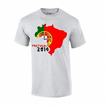 Portugal 2014 land flagga T-shirt (grå)