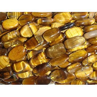 25+ Yellow/Brown Tiger Eye Approx 8 x 10mm-10 x 12mm Oval Handcut Beads DW1845