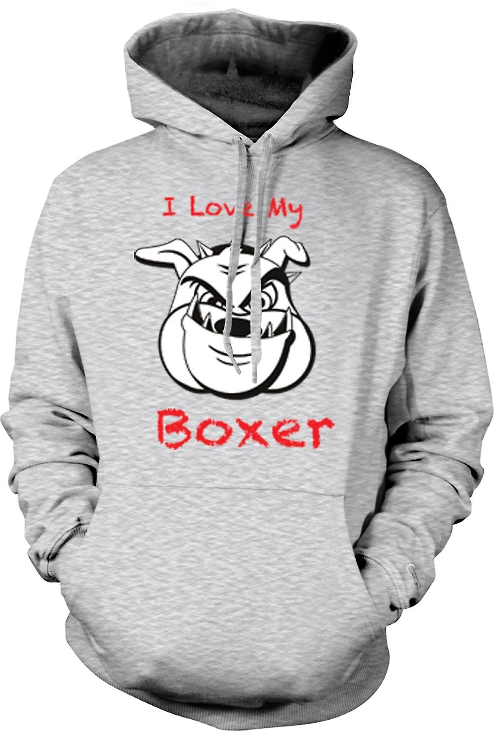 Mens Hoodie - I Love My Boxer Dog