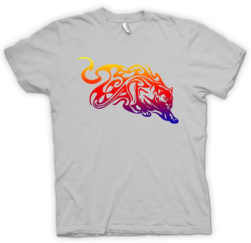 Mens T-shirt-Stammes Tiger mit Flammen Design