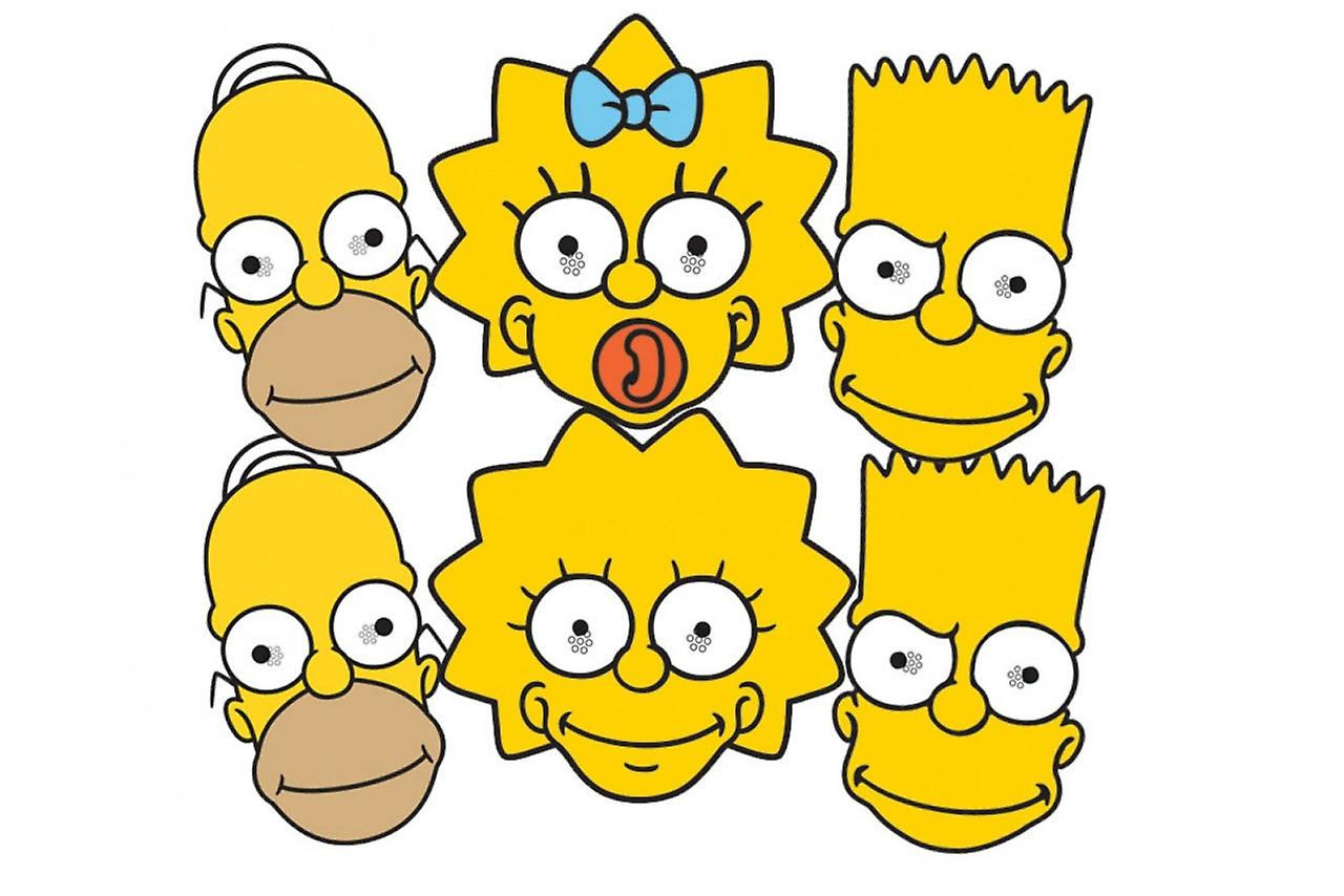 The Simpsons Party Card Face Masks Set Of 6 (Homer, Bart, Maggie and Lisa)