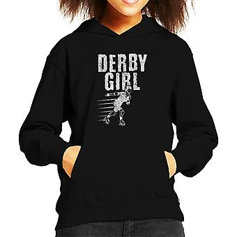 Roller Derby Girl Kid's Hooded Sweatshirt