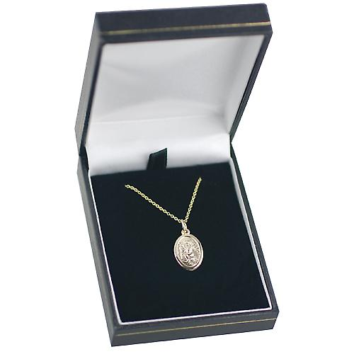 9ct Gold 17x11mm oval St Christopher with Cable chain