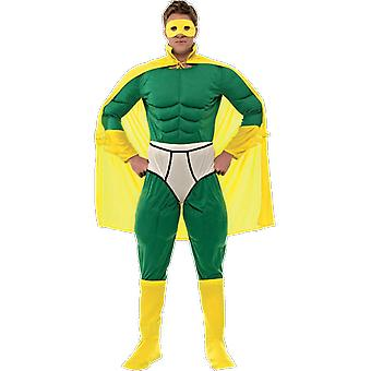 Orion Costumes Mens Green Captain Underwear Superhero Fancy Dress Costume