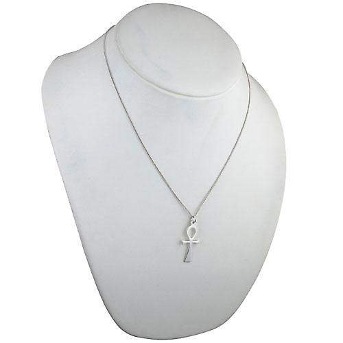 Silver 33x17mm Plain solid Ankh or Peace cross with a curb chain