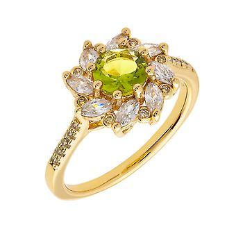 Bertha Juliet Collection Women's 18k YG Plated Light Green Flower Fashion Ring Size 7