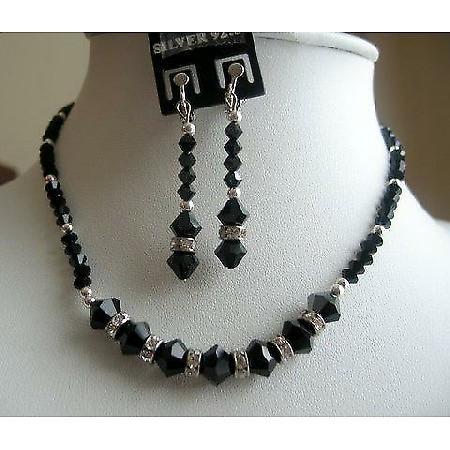 Vintage Handmade Necklace Set in Swarovski Jet Crystals