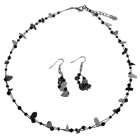 Jet & Opal Nuggets Stone Necklace Earrings Set