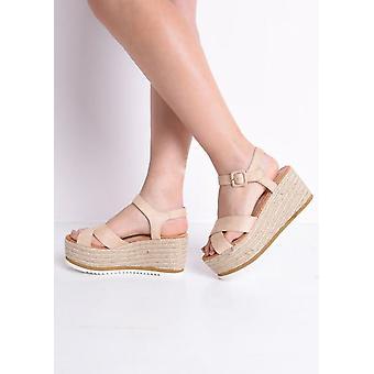 Flatform Braided Espadrilles Wedge Sandals Beige