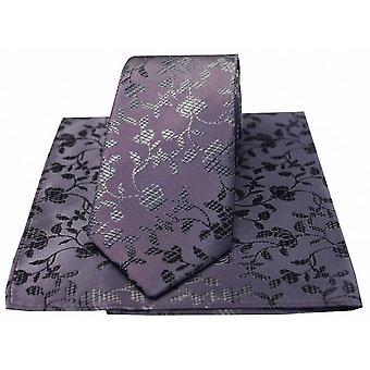 David Van Hagen Flower Chain Tie and Handkerchief Set - Red/Black