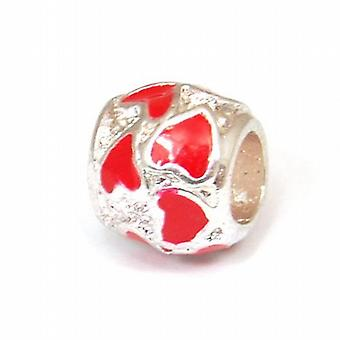TOC BEADZ Red Hearts 9mm Slide-on Charm Bead