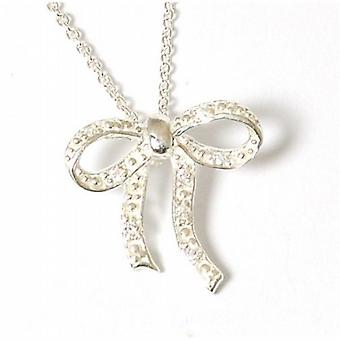 Jo For Girls 925 Silver Bow Pendant Set with CZ  14