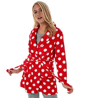 Womens Brave Soul Polka Dot Dressing Gown In Red / White
