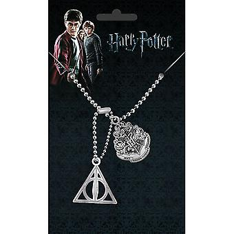 Harry Potter Hogwarts Crest and Deathly Hallows Dog Tag Pendant