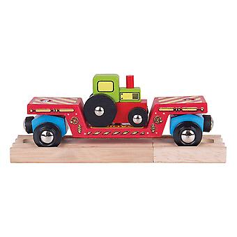 Bigjigs Rail Wooden Tractor Low Loader Engine Locomotive Train Railway