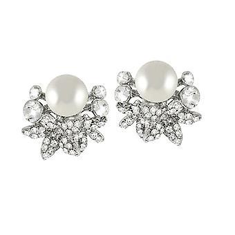 Eterna colección Paradiso cristal y Perla plata tono ajuste perno Clip en pendientes