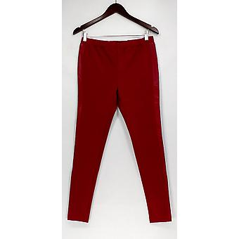 H by Halston Leggings Ponte Pull-On With Leather Trim Brick Red A262980
