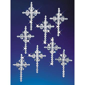 Holiday Beaded Ornament Kit Crystal Crosses 1.25