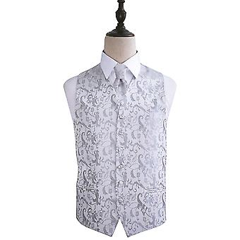 Silver Passion Floral Patterned Wedding Waistcoat & Tie Set