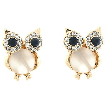 Goud en Cats Eye Crystal Owl Stud Earrings Stud Earrings