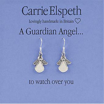 Carrie Elspeth Silver Guardian Angel Sentiment Drop Earrings