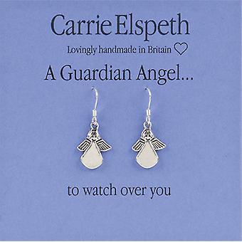 Orecchini di goccia di Carrie Elspeth argento angelo custode sentimento