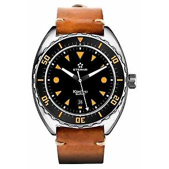 Eterna Mens Super Kontiki Automatic Brown Leather Strap Black Dial 1273.41.49.1363 Watch