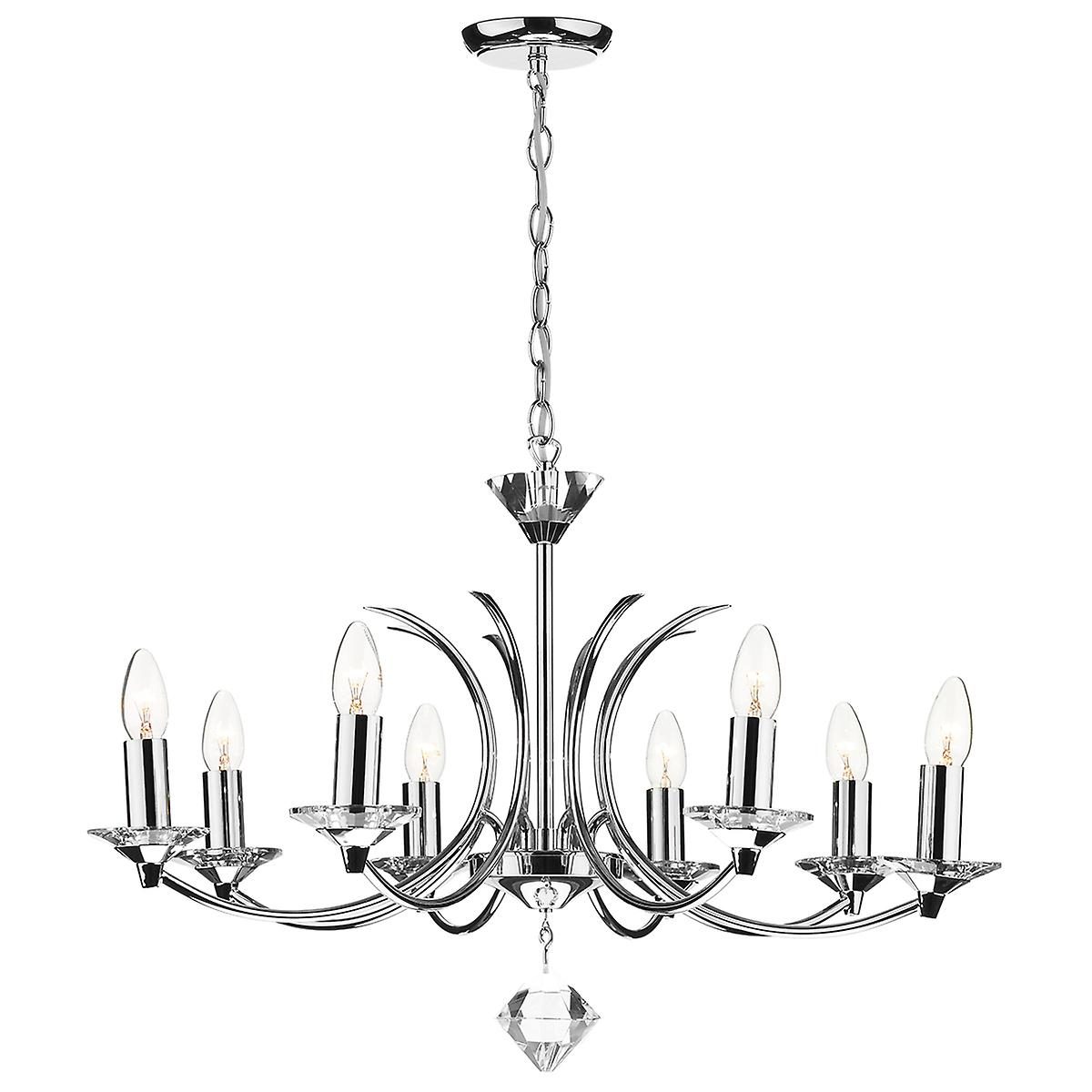 Dar MED0850 Medusa 8 Arm Ceiling Pendant With Crystal - Dual Mount