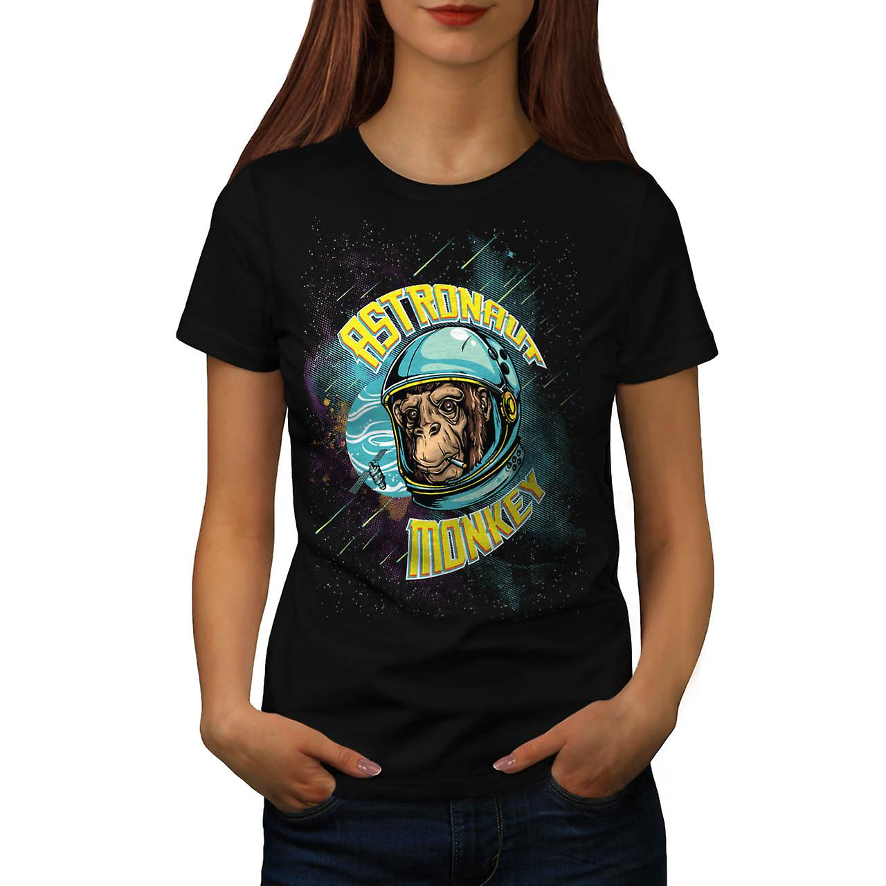 Astronaut Monkey USA Ape Chimp Women Black T-shirt | Wellcoda