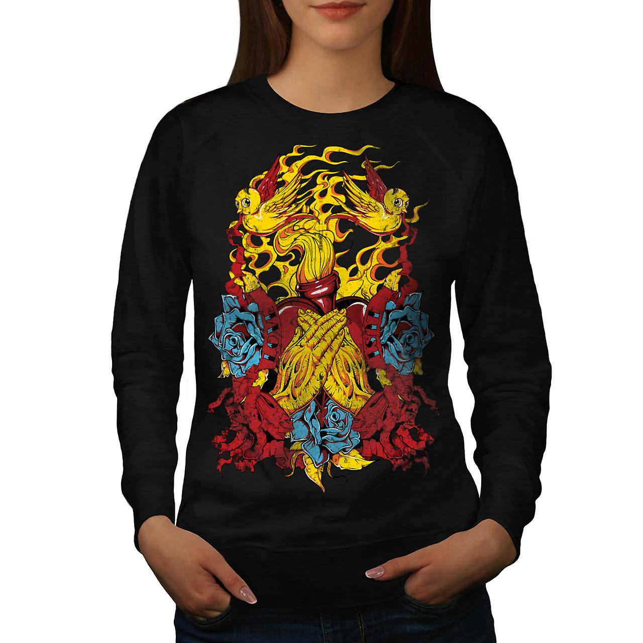 Heart Beats Prayer Love Fire USA Women Black Sweatshirt | Wellcoda